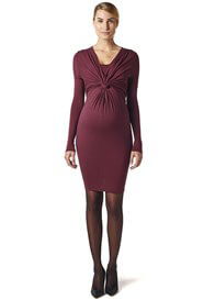 Queen Bee Bordeaux Knot Front Maternity Nursing Dress by Esprit