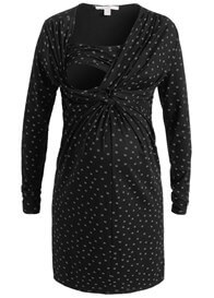Queen Bee Black Dottie Print Knot Front Maternity Nursing Dress by Esprit