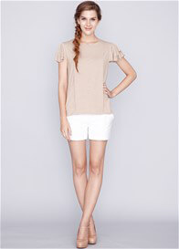 Queen Bee Melanie Ruffle Nursing Top in Sand by Dote Nursingwear