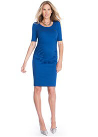 Queen Bee Side Ruched Maternity Dress in Blue by Seraphine