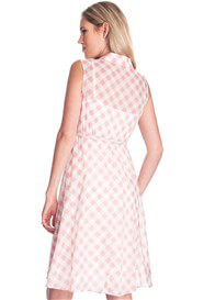 Queen Bee Gingham Cotton Maternity Dress in Pink Check by Seraphine