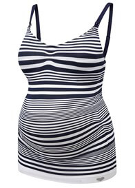 Queen Bee Seamless Maternity Nursing Cami in Navy Stripe by Amoralia