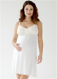 Queen Bee Rachelle Maternity Nursing Slip Dress in Ivory by Belabumbum