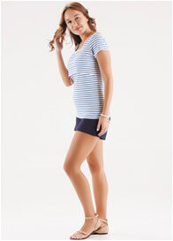 Queen Bee Kaylee Postpartum Nursing T-Shirt in Blue Stripes by Trimester