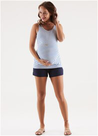 Queen Bee Ella Miracle Maternity Tank Top in Blue Stripes by Trimester
