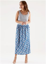 Queen Bee Hunter Nursing Maxi Dress in Grey/Blue Floral by Floressa