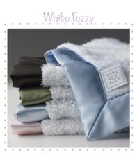 Queen Bee White Fuzzy Baby Lovie w Satin Trim by Swaddle Designs
