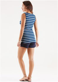 Queen Bee Christina Blue Striped Nursing Tank Top by Trimester Clothing