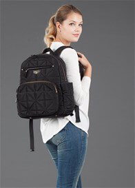 Queen Bee Companion Quilted Nappy Change Backpack in Black by TWELVE little