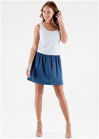Queen Bee Mason Postpartum Nursing Dress in Blue Stripes by Floressa