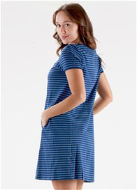 Queen Bee Caleb Postpartum Zip Nursing Dress in Blue Stripe by Floressa