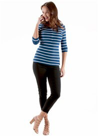 Queen Bee Lilianne Breastfeeding Henley in Navy Stripe by Trimester