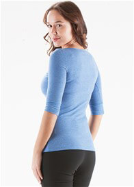 Queen Bee Laurette Breastfeeding Henley in Blue by Trimester Clothing
