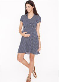 Queen Bee Catherine Maternity Nursing Dress in Navy Chevron Stripes by Dote