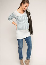 Queen Bee Fine Cotton Knit Maternity Jumper in Teal Stripes by Esprit