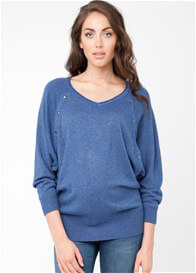 Queen Bee Lambswool Maternity Nursing Jumper in Blue by Ripe Maternity