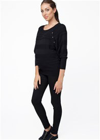 Queen Bee Black Self Stripe Maternity Nursing Knit Jumper by Ripe Maternity
