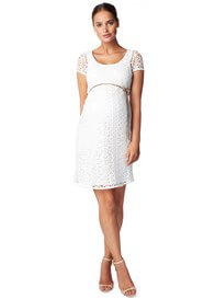 Queen Bee Elise Lace Maternity Dress in Off-White by Noppies