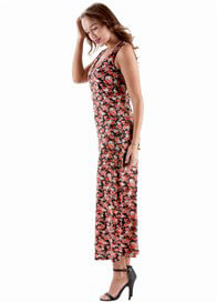 Queen Bee Easton Postpartum Nursing Maxi Dress in Black Floral by Floressa