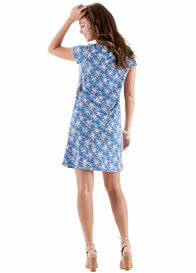 Queen Bee Colton Blue Floral Postpartum Nursing T-Shirt Dress by Floressa
