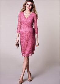 Queen Bee Chloe Lace Evening Maternity Dress in Desert Rose by Tiffany Rose