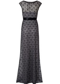 Queen Bee Daisy Black/Silver Lace Maternity Evening Gown by Tiffany Rose