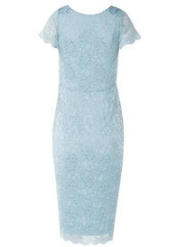 Queen Bee Laura Lace Maternity Dress in Baby Blue by Tiffany Rose