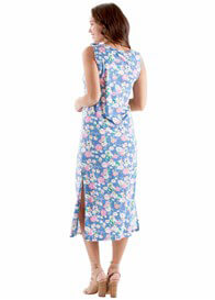 Queen Bee Cora Postpartum Nursing Maxi Dress in Blue Floral by Trimester