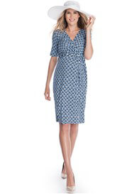 Queen Bee Ellie Maternity Wrap Dress in Blue Diamond Print by Seraphine