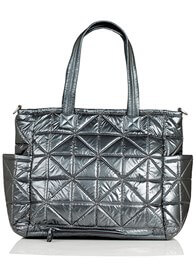 Queen Bee Carry Love Quilted Baby Tote Bag in Pewter by TWELVE little