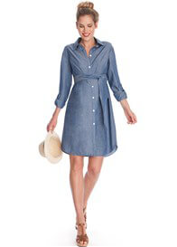 Queen Bee Abalina Chambray Maternity Shirt Dress by Seraphine