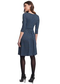 Queen Bee Kelly Twist Front Maternity Dress in Blue Print by Seraphine
