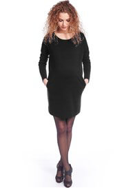 Queen Bee Ponte Maternity Pocket Dress in Black by Queen mum