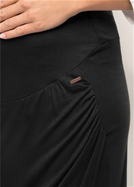 Queen Bee Over Bump Faux Wrap Maternity Maxi Skirt in Black by Esprit