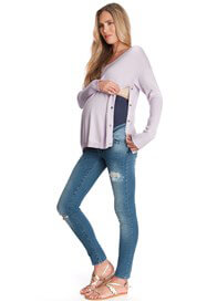 Queen Bee Poppy Maternity Nursing Knit Jumper in Lavender by Seraphine