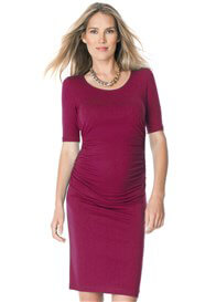 Queen Bee Side Ruched Maternity Dress in Berry by Seraphine
