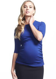 Queen Bee Honor 3/4 Sleeve Feeding Top in Blue by Soon Maternity
