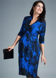 Queen Bee Cobalt Blue Floral Maternity Nursing Dress by Milky Way