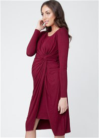 Queen Bee Side Knot Maternity Dress in Burgundy by Ripe Maternity