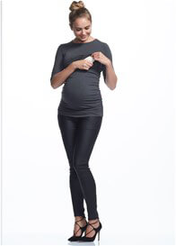 Queen Bee Honor 3/4 Sleeve Feeding Maternity Top in Charcoal by Soon Maternity
