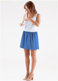 Queen Bee Wylla Postpartum Nursing Dress in Cobalt Stripes by Floressa