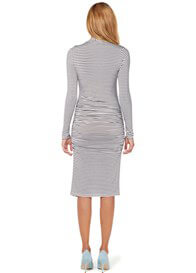 Queen Bee Brown Striped Long Sleeve Maternity Nursing Dress by Esprit