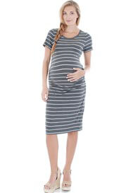 Queen Bee Camila Maternity Dress in Charcoal Stripe by Everly Grey