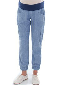 Queen Bee Margo Chambray Maternity Cargo Pant by Everly Grey