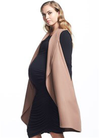Queen Bee Frost Wool Long Maternity Vest in Camel by Soon Maternity