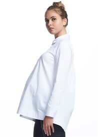 Queen Bee White Long Sleeve Collared Maternity Shirt by Soon Maternity
