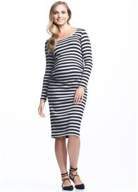 Queen Bee Krish Long Sleeve Black Stripe Maternity Dress by Soon Maternity
