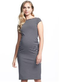 Queen Bee Leo Cap Sleeve Ruched Dress in Navy Stripe by Soon Maternity