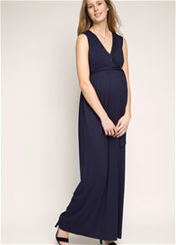 Queen Bee Beaded Neckline Evening Maternity Maxi Dress in Navy by Esprit