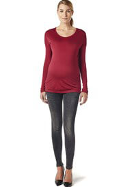 Queen Bee Jersey Long Sleeve Maternity Tee in Red by Esprit
